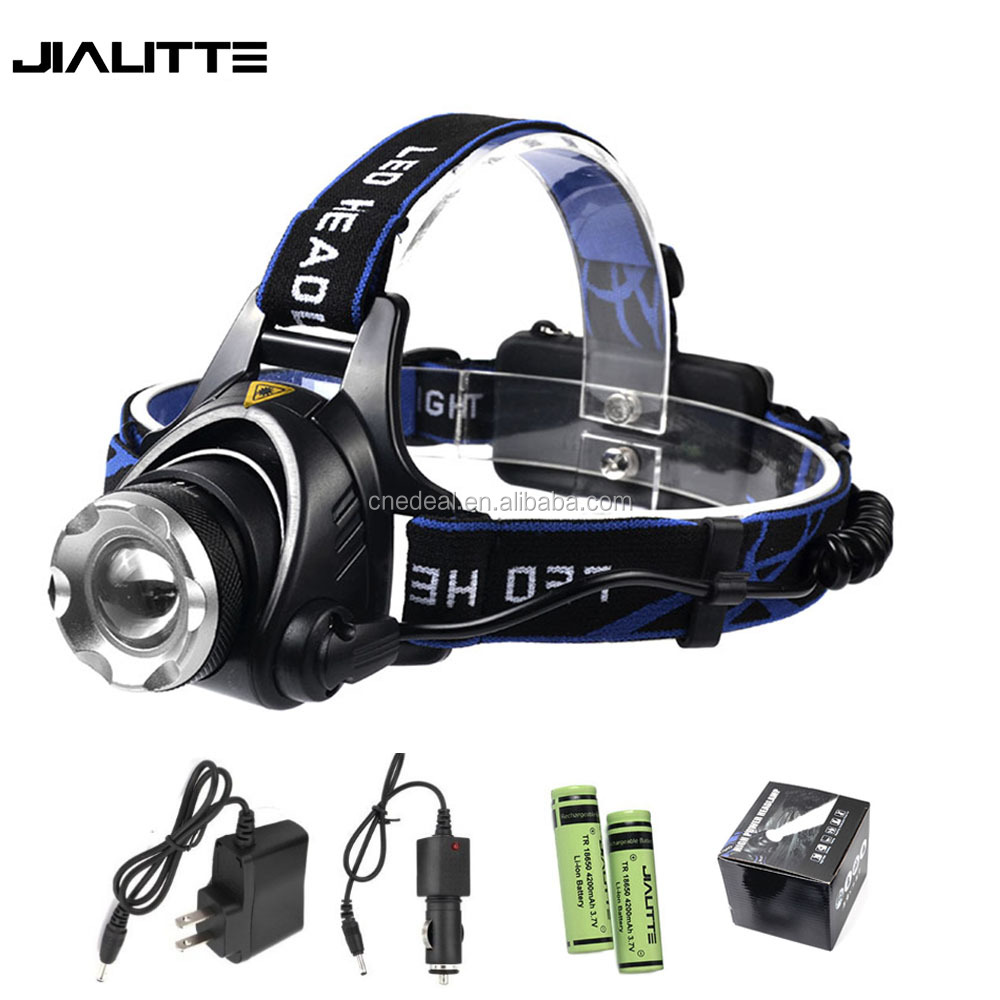 Jialitte H005 2000 Lumen XML <strong>L2</strong> Aluminum Led Headlamp Portable Zoom Light 2x18650 Battery Charger Kit Headlight