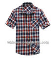 Gingham Men's cotton plaid checked fitted casual summer short sleeves shirts custom