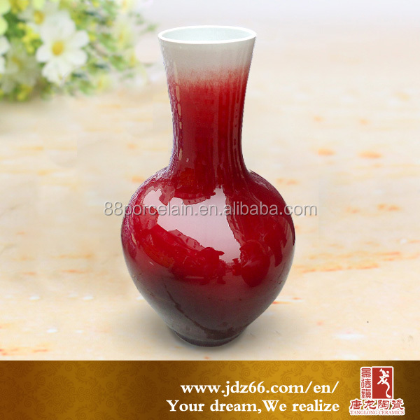 China Jingdehzne featured red color glazed ceramic vase