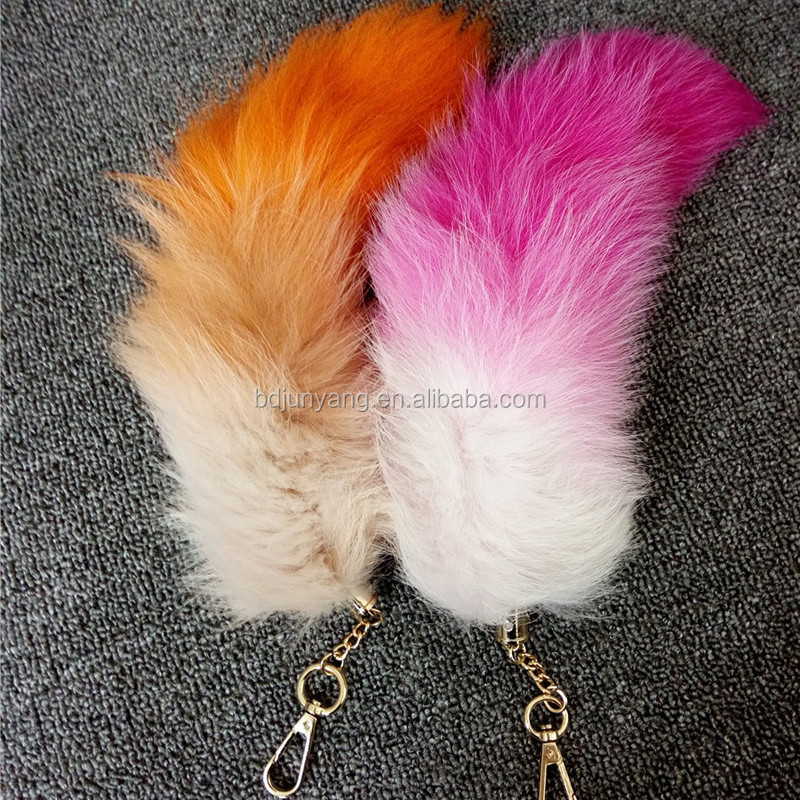 real fox fur tail key chain/cheap fox tail/fairy tail keychain