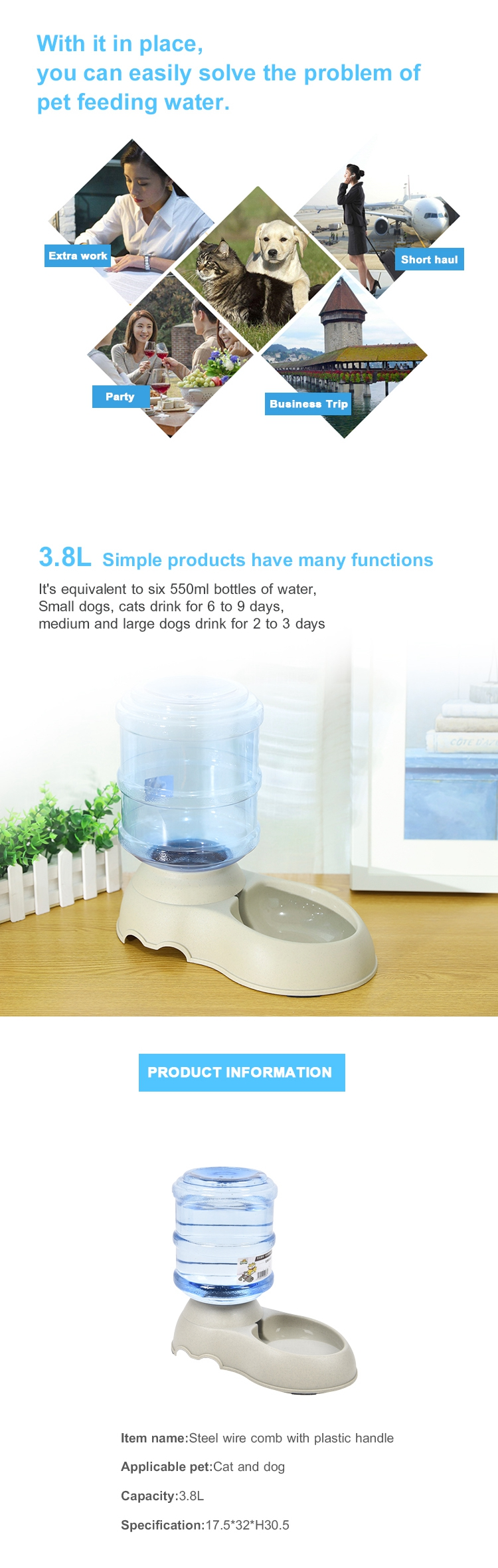 Tianyuan pet dog automatic water bowl/dispenser,dog water dispenser for dog