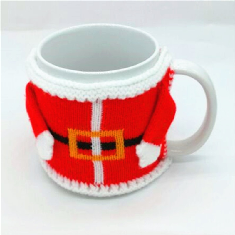 DM 723 New knit Christmas santa coffee cozy mug tea cup warmer mug cover