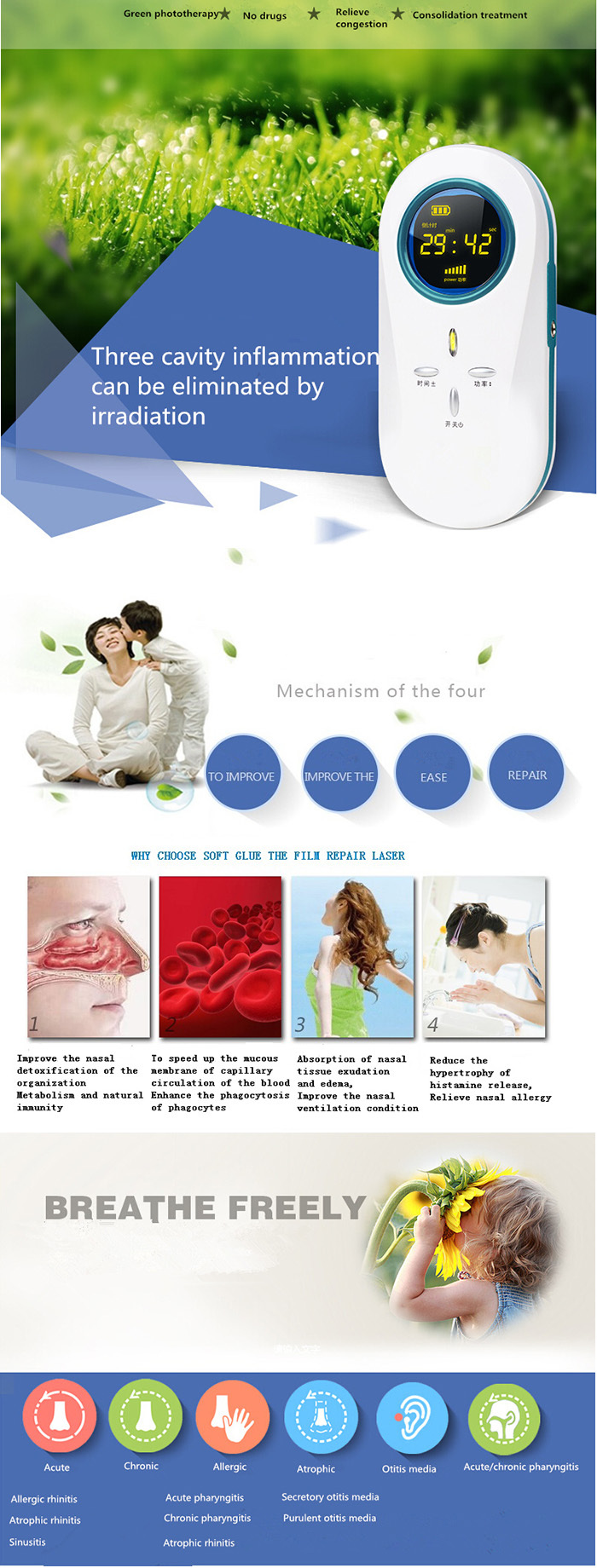 Physical infrared medical 650nm laser allergic rhinitis therapy device