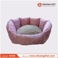 Luxury flower shaped oval plush pet dog and cat clamshell beds
