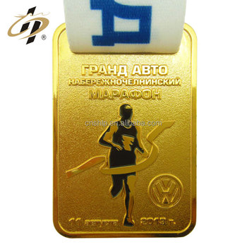 Hot selling custom sports marathon gold enamel running award medal with lanyard