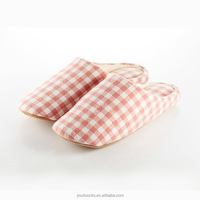2015 PVC flat stripe single jersey indoor slipper for women