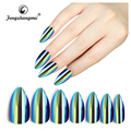Fengshangmei fake nails abs material mirror effect metallic false nail tip