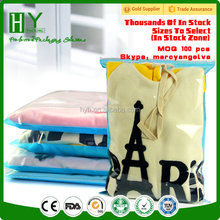 Custom printed clothing t shirt packaging zip lock bag clothes/slide zip lock plastic bag/zip plastic bag
