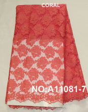 Hot sale coral emboridery african french net lace with beads