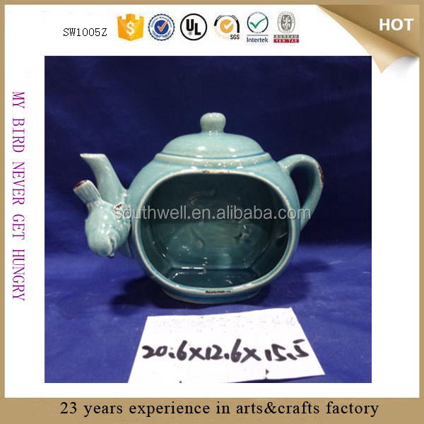 2015 best selling antique teapot custom copper bird feeder