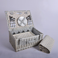 woven wicker willow picnic basket outdoor hamper lidded set cutlery dinnerware BBQ camping vineyard
