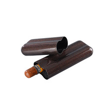 Boshiho travel carbon fiber clip leather cigar case