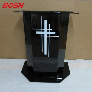 Luxury Smoke Gray Acrylic Plexiglass Podium Church Pulpit Lectern Cross
