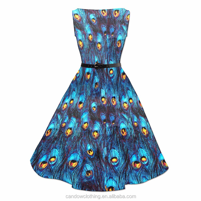 Hot Sale High Quality 50s 60s Rockabilly Vintage Novelty Peacock Printed Swing Dresses