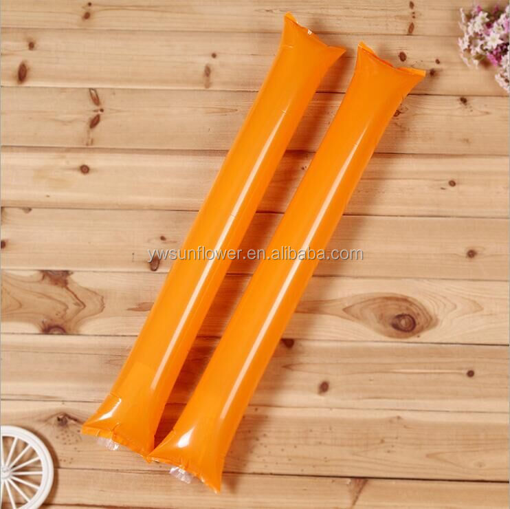 yiwu manufacturer wholesale 60*10cm 0.07mm thickness inflatable PE thunder inflatable noise sticks