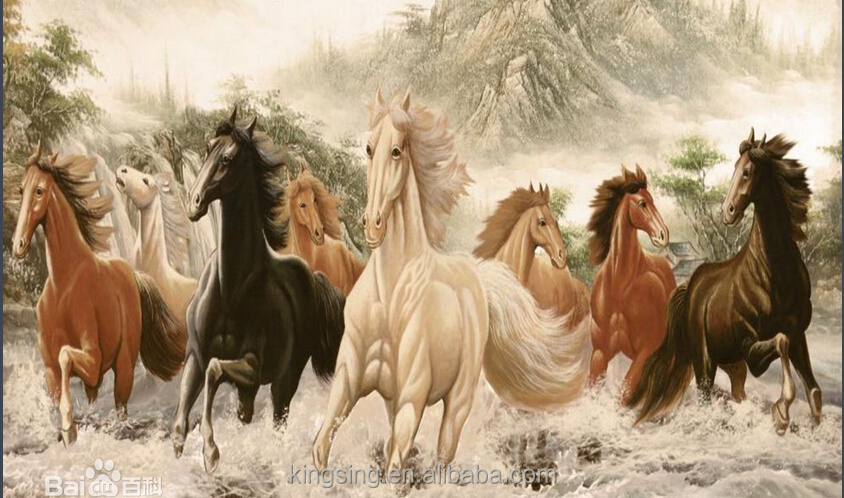 eight horse oil painting handmade oil painting on canvas yiwu art