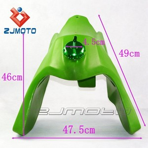 HB-037-GN Green Plastic 3.7 Gallon Motorcycle Gas Fuel Tank Fits For KLX250 1993-2006 KLX 300R 1997-2008