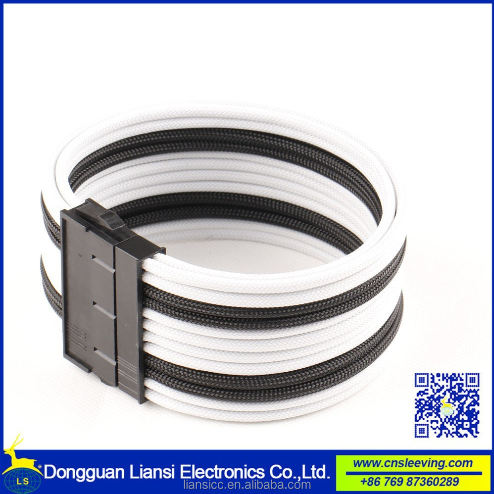High quality 24 pin single sleeved curve atx cable