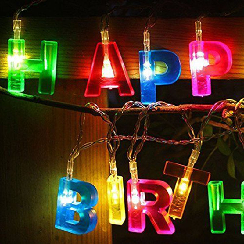 1.5M Happy Birthday Alphabet string Greeting String Fairy Lights Holiday party lighting String Lamp 14 LED Color Light