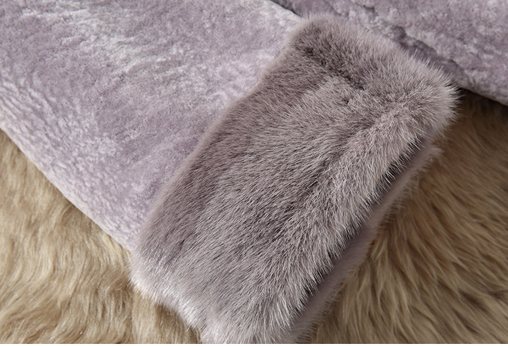 sheepskin fur coat with mink collars161128-4