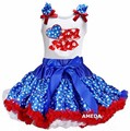 Baby Blue Star Pettiskirt with Ruffled USA Flag White Tank Top
