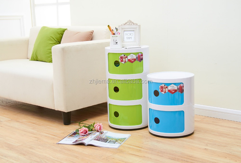 Useful and brief Bedside Plastic Storage Rounded Storage Cabinet