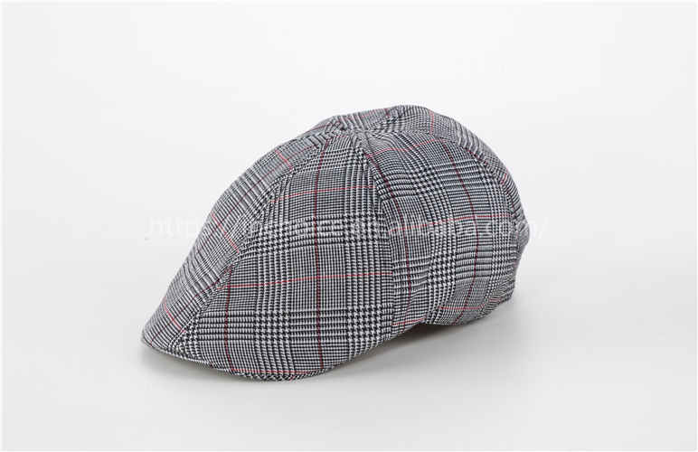 Grey checked striped beret hat 6 panel short brim cap worker forward hat for man