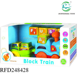 Baby diy block electric letter train with light and music b o car