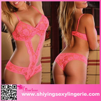Cut out Neon Pink Lace Teddy japanese mature women sexy lingerie 2016