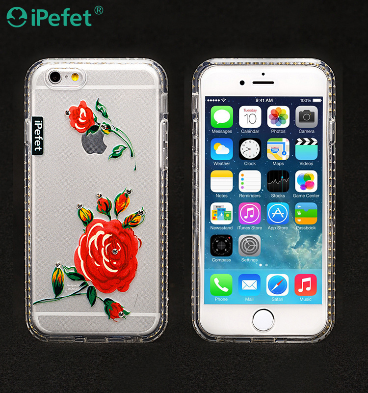 iPefet- Custom Design Printed Flower Diamond Soft Clear TPU Case For iPhone 6
