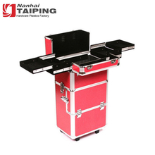 Red Hard Cosmetic Case Trolley Stand Up Make Up Case Aluminum Beauty Trolley