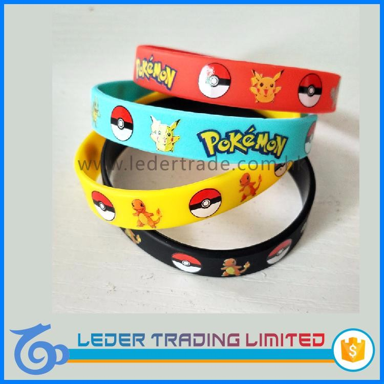 wholesale custom pokemon silicone bracelets silicone wristband with cartoon logo