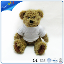 2016 trending products 18cm sublimation brown bear soft toy with t-shirt stuffed toy
