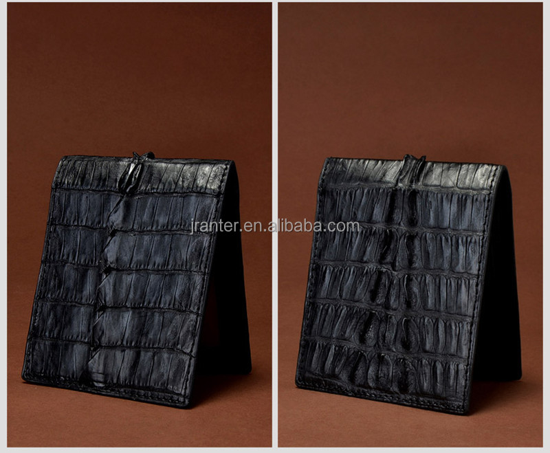 Luxury Handmade Crocodile Leather Standard Man Business Card Wallet Billfold Black