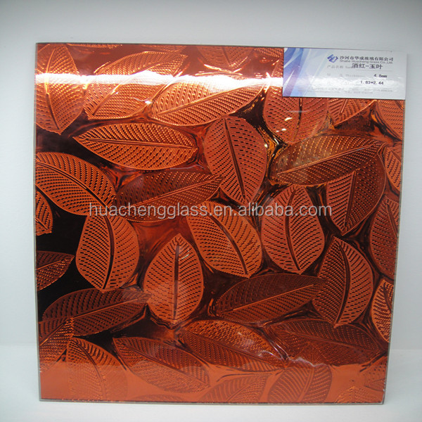 Leaf design coated patterned glass/decorative glass/coated figured mirror