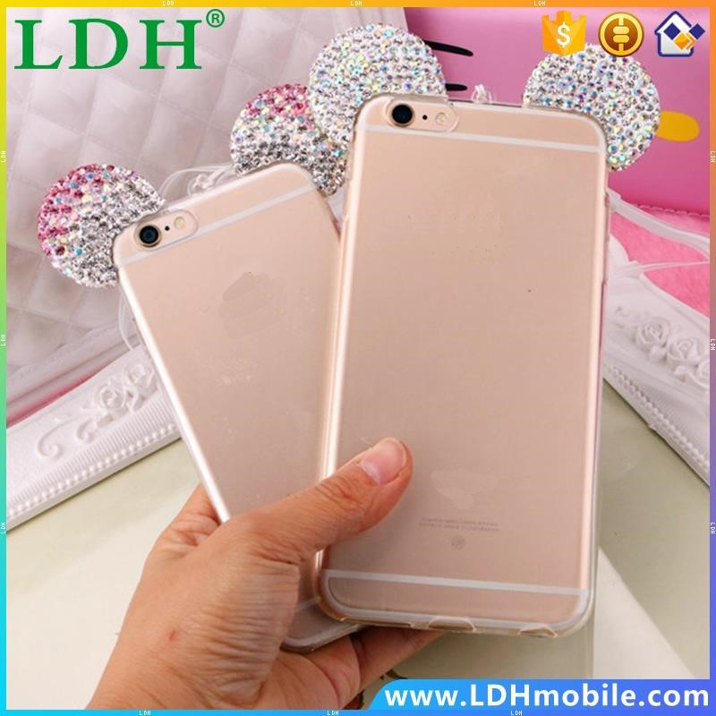 Hot Luxury 3D Diamond Glitter Mickey Minnie Mouse Ears Rhinestone Clear Phone Cases Cover For iPhone 5 5G 5S 6 6G 6S 6Plus 7 5.5