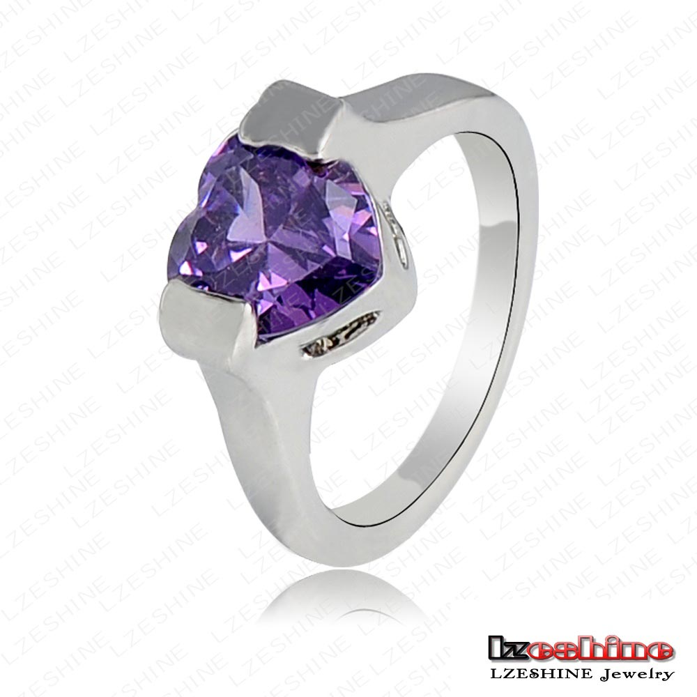 LZESHINE Natural Rough Amethyst Gemstone Ring Platinum Plated Heart Zircon Ring Made With Austrian Crystal Jewelry Ri-HQ0251-c