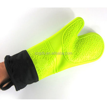 High temperature extra Long Oven Mitts cotton lining silicone oven mitts extra long