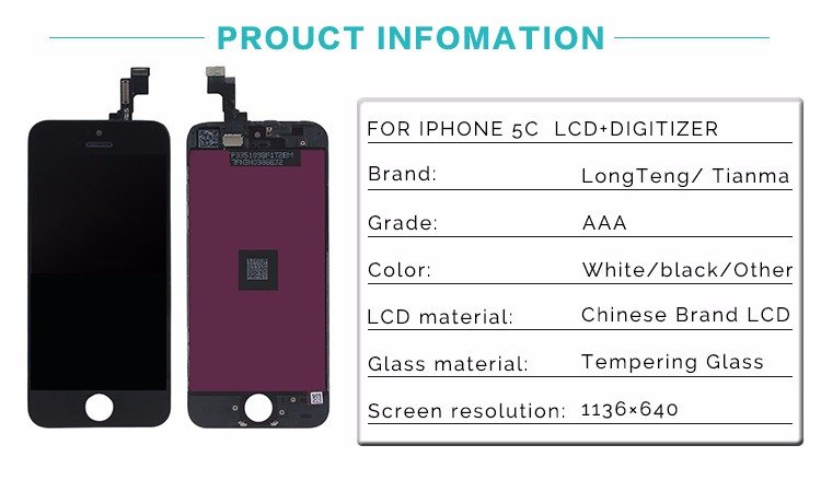 Factory Directly Supply For iPhone 5C LCD Display Screen Assembly with Glass Touch Digitizer No Dead Pixel AAA Quality