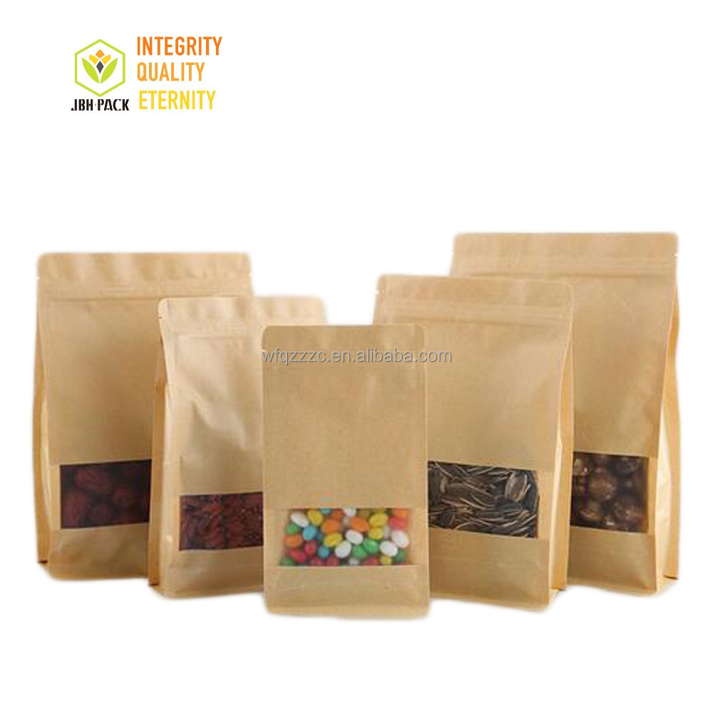 wholesale 2018 Food grade kraft paper flat bottom pouch with window and ziplock for snack/dried food <strong>packing</strong>