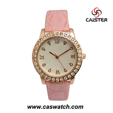 Pink square diamond bling bling Fashion high quality genuine leather watch