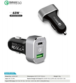 Power Drive 63W quick charge 3.0 fast car charger with Type-c port