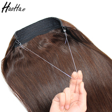 wholesale Full Cuticle virgin milk Brazilian remy human hair halo hair extensions replacement wire
