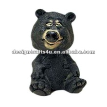 funny black bear shaped resin handmade wholesale cute bobblehead
