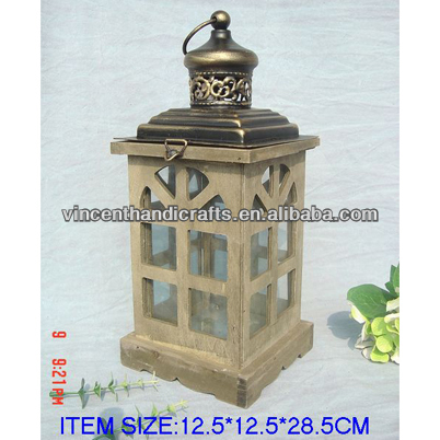 Christmas decor primitive wooden lantern with metal roof