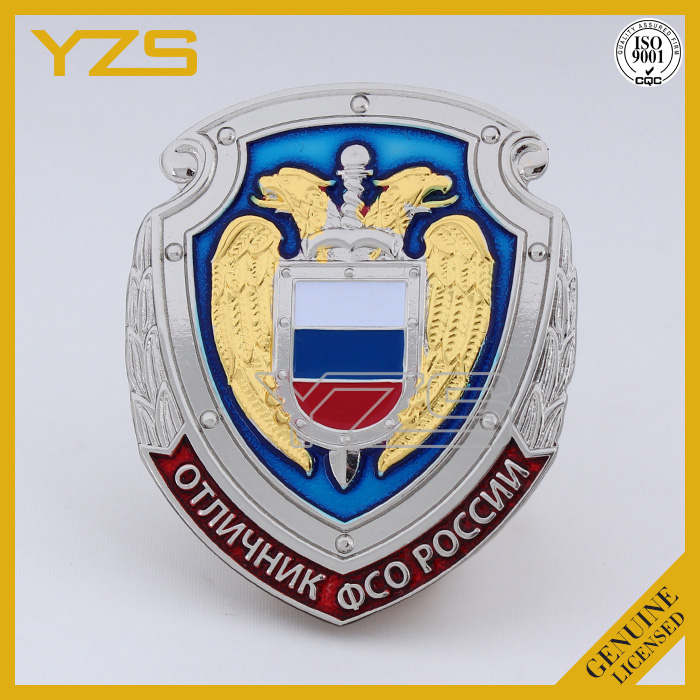 high quality custom metal plating chrome security badge