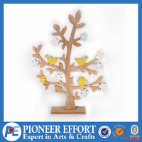 Wooden Birds in the Tree Springing Ornament for Table Decoration