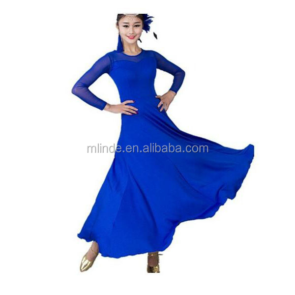 Women Modern Lyrical Costume Blue Waltz Tango Smooth Ballroom Dance Dress Standard Ballroom Billowing Dress