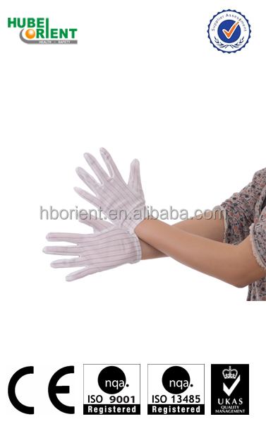 Cleanroom nylon esd conductive gloves