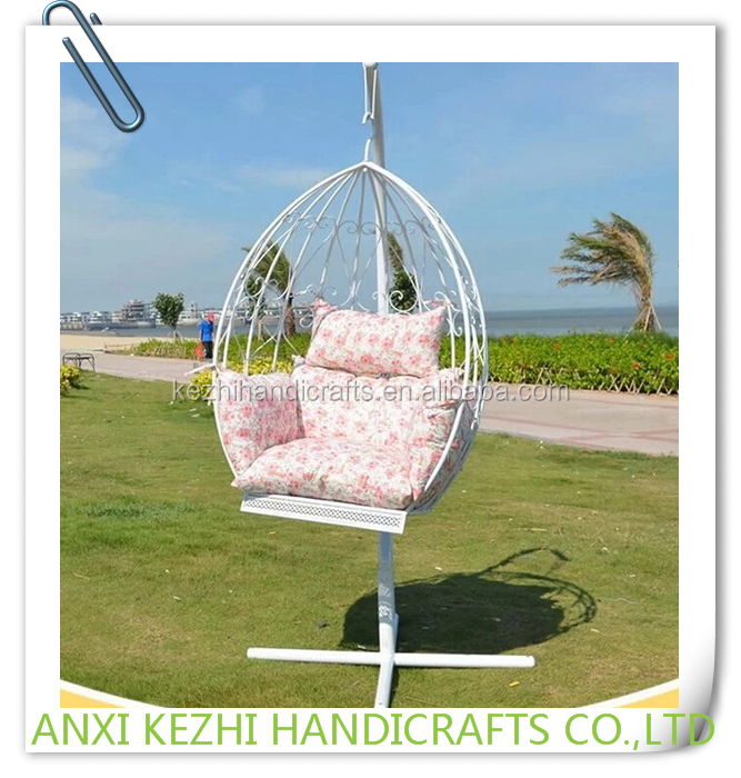 KZ140126 Outdoor Patio Swing Hanging Oval Egg Chair with Metal Stand